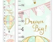 back2school SALE chic Hot Air Balloons Canvas Growth Chart - Mint Blush Pink & Gold | Personalized Growth Chart for Kids | Children Height C