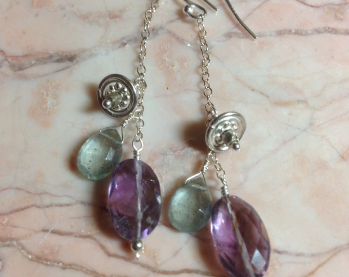Faceted Amethyst, Moss Aquamarine and Silver Earrings