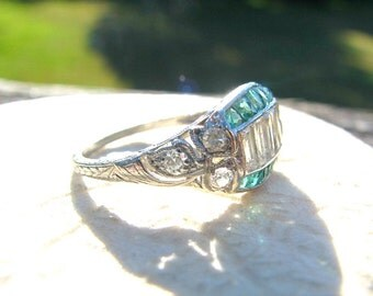 Stunning Art Deco Diamond Emerald Ring, 1.62 cts, Baguette and Transitional Cut Diamonds, French Cut Emeralds, GIA Appraisal 6500.00
