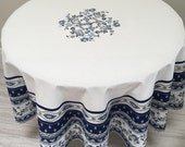 Blue and White Tablecloth and Napkins, French Country Tablecloth, Round Tablecloth, Avignon Blue on White