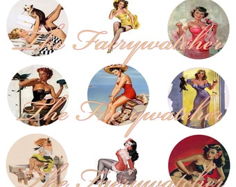 Classic Pinup Girl Magnets, Pinup Girl Pins, Pinup Girl Flatbacks, 1950s Pinup Girls, 12 ct.