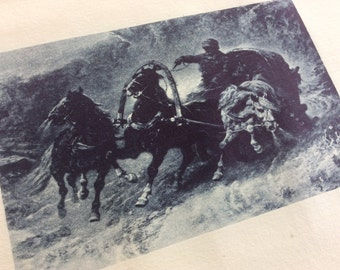 Antique Lithograph Print, 1887 Russian Cossack Horses, Small Dark Moody Wild Art Print, Winter Night Scene, Indigo Blue Navy Blue Decor