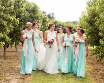 DIY Designer. Designed by YOU. Infinity Dress HANDMADE to fit each bridesmaid   blue- mint- aqua- sage- seafoam Convertible Dresses Wedding