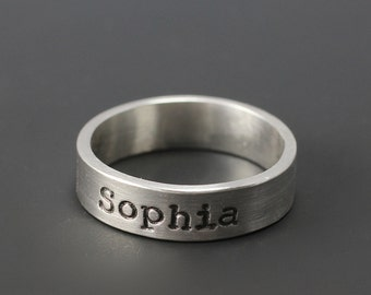 Personalized Name Ring, Sterling Silver Hand Stamped Ring