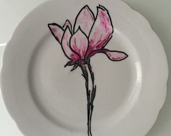 Hand painted Pink Flower Dessert Plate lotus  plate  serving dish