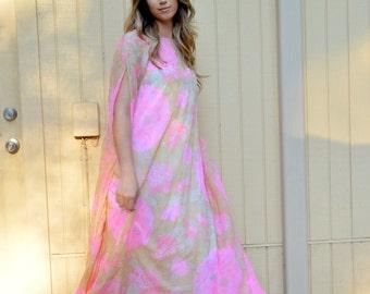 Vintage 60s 70s Kimono sleeves Maxi dress. Stella Fagin.