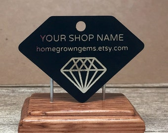 Customized Gemstone Shape Hang Tag Thank You Tag Price Tags -Packaging - Gift Tag - Black Paper Metallic Gold Silver Magenta Copper