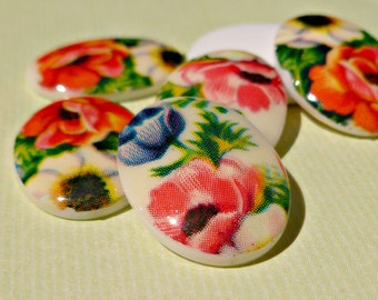 Six Vintage 18x13mm White Acrylic Cabochons with Cute Flower Patterns (23-11B-6)