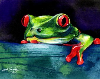 Hello ... Canvas Art Print . Original watercolor frog painting by Kathy Morton Stanion  EBSQ