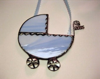 Soft Blue Baby Carriage Ornament in Stained Glass with 2015 or 2016 Charm