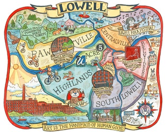 "Lowell Massachusetts Neighborhood Map 11""x14"" Art Print"