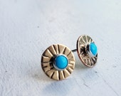 Turquoise Starburst Studs- 14k Gold Fill with Sleeping Beauty Cabs
