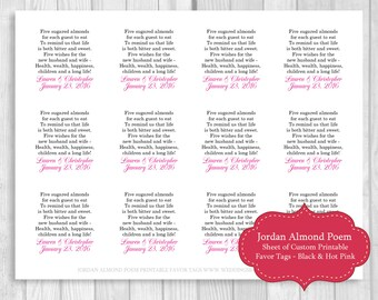 Printable Sheet of 12 Personalized Jordan Almond Poem Wedding Favor Tags - Black and Hot Pink - Can Be Printed on White or Cream Card Stock
