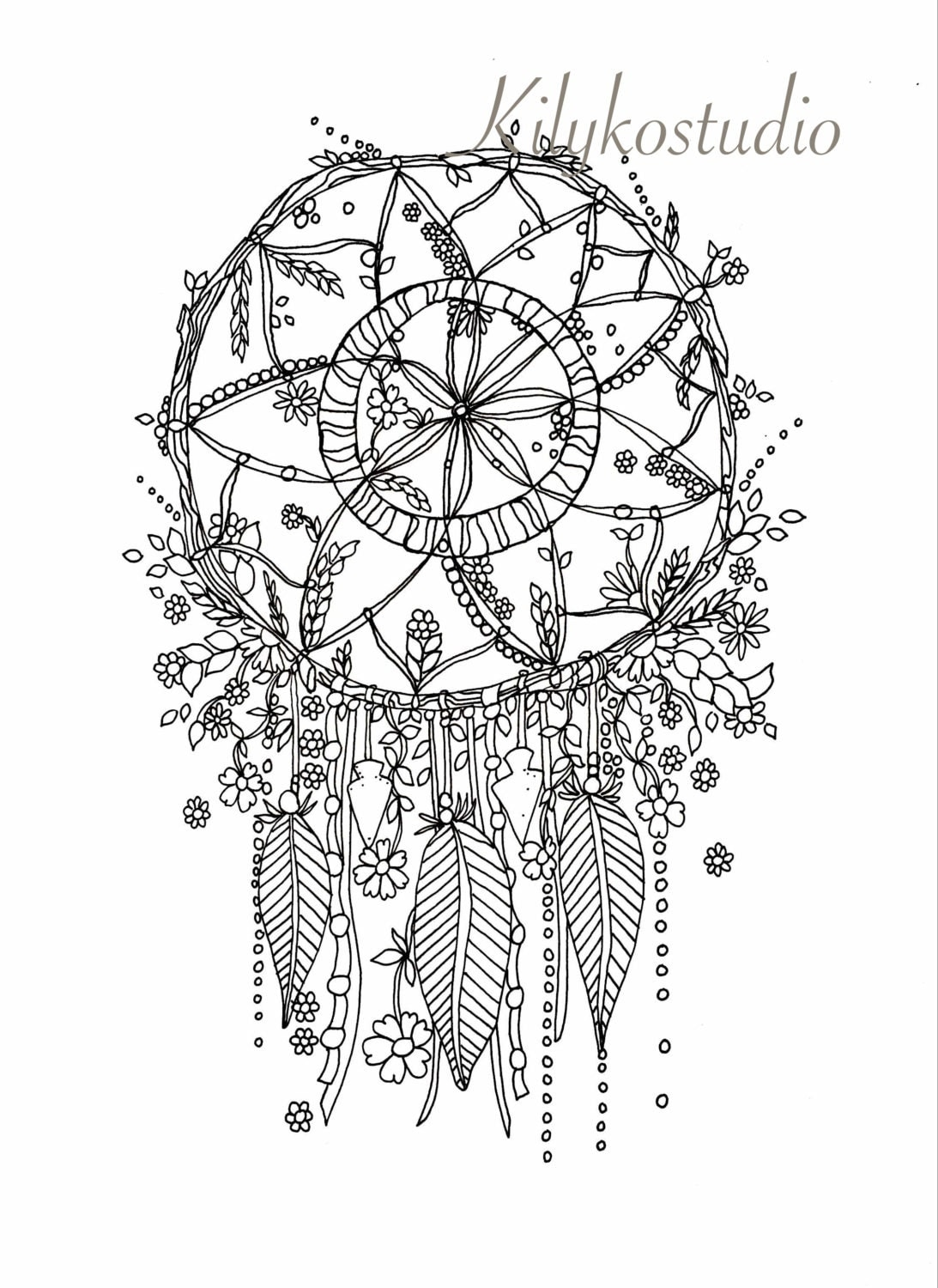 dream catcher botanical wildflower coloring page instant