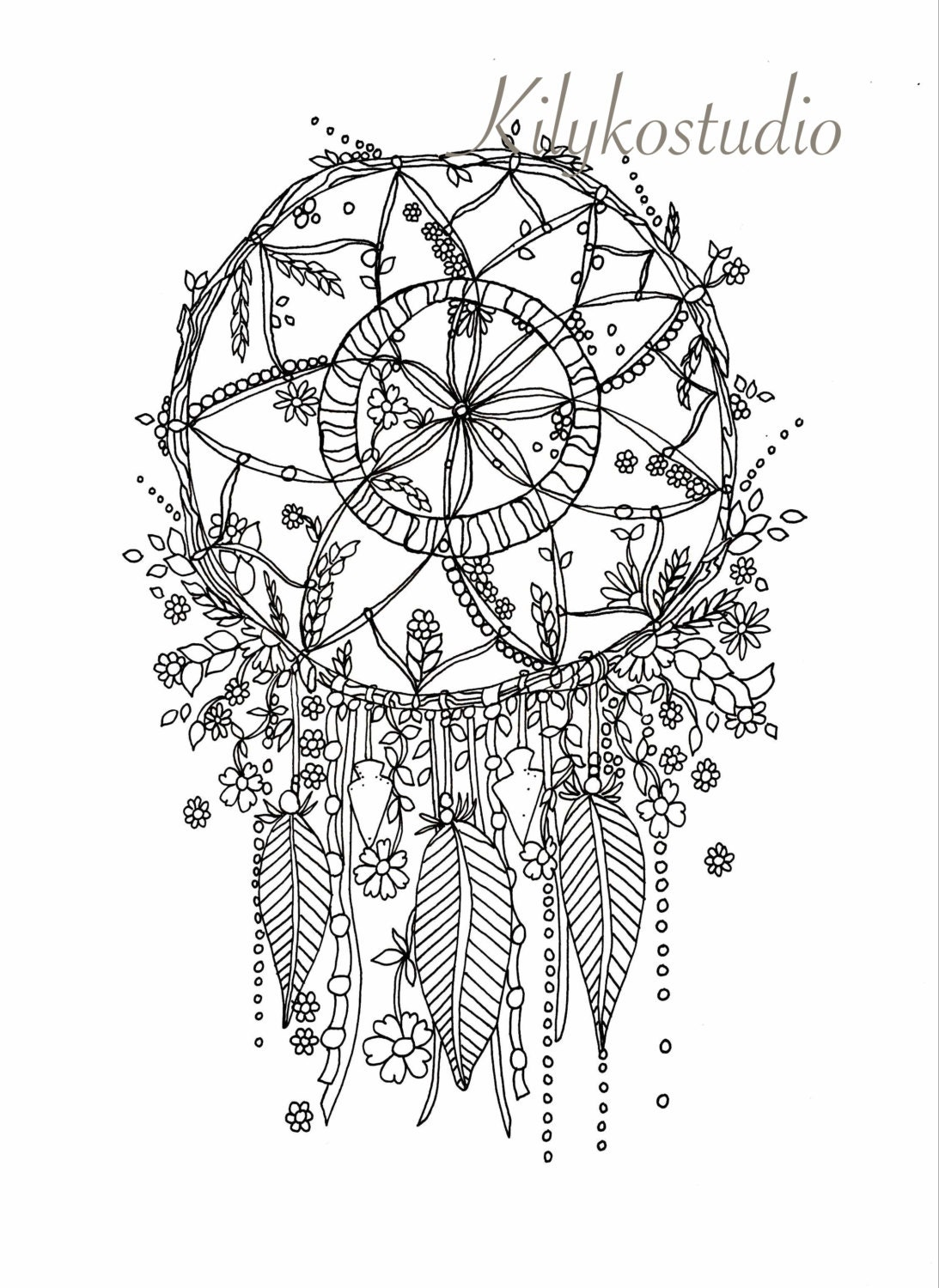 wildflower coloring pages - dream catcher botanical wildflower adult coloring page