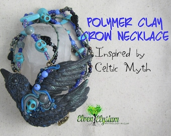 DIY Polymer Clay and Glass Bead Crow Necklace PDF Tutorial by Elven Elysium