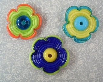 Flower Power - Lampwork Flower Beads - Bright colors
