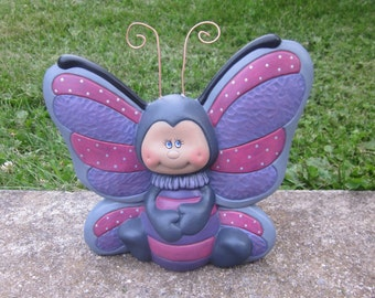 ceramic butterfly-cute pink and purple butterfly-polka dotted butterfly-