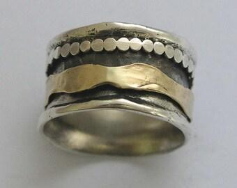 Wedding ring, Meditation ring, spinner ring, mens silver band, stacking ring, wedding band, silver gold band - Blackness Of The Night R1075C
