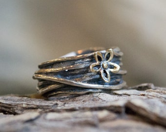 Two tones ring, Silver ring, gold flower ring, wire wrap ring, wide silver band, boho ring, statement ring, unique ring - So Special R2150