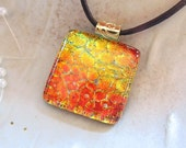 Dichroic Pendant, Glass Pendant, Fused Glass Jewelry, Necklace Included, Orange, Gold, A5
