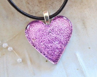 Pink Necklace, Fused Glass Jewelry, Dichroic Heart Pendant, Pink Heart, Necklace Included, A8