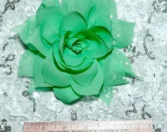 Sea Foam Chiffon hair/hat flower..  formal, wedding, bridesmaids, flower girl,pageant..  clip on back ( REDUCED)