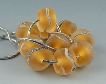 Honey Gold,10 Handmade Lampwork Glass Beads,lampwork bead set,jewelry supplies,lampwork spacer bead,artist lampwork