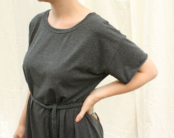 ready to ship / tshirt dress with braided belt / by replicca / one size / dark heather grey