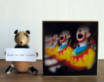 Wooden Photo Block 4x4 Clowns - Carnival TtV Photography - Mounted Photo Wood Block - Kids Room Decor