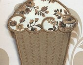 CUPCAKE Brown Floral Embroidered Iron on APPLIQUE Handmade