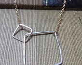 sterling silver handmade hoop necklace, two squares, mixed metal, gold filled chain