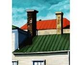 Urban Houses Rooftops landscape original oil painting