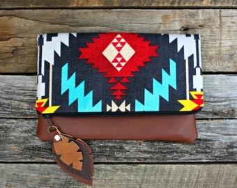 Foldover Clutch / Southwestern Tribal Style Fabric