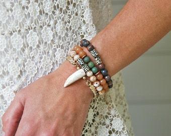 Tribal bracelet/ white horn gold stretch bracelet/ boho jewelry.Tiedupmemories