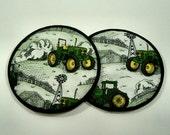 John Deere Tractor and Landscape Cloth Coaster Set of 2  Set # 17