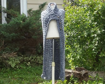 Long vest cape style asymmetric front chunky knit medium large women in grey blues dropped at back with side slits