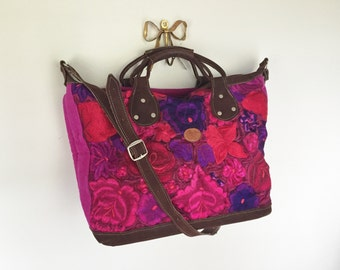 SALE - Frida - Beautiful Leather and Embroidered Flowers Tote / Carry On / Overnight / Weekender.