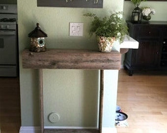 Farmhouse Wood Console table. 34x7x34 Reclaimed Wood Table. Country Entry Table. Eco Friendly Furniture. Thin Entry Table Apartment