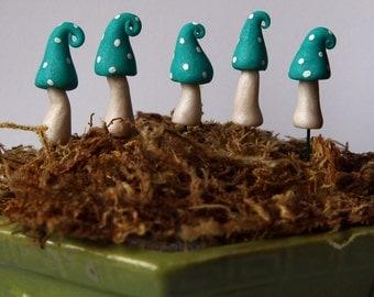 miniature clay mushrooms set of 5
