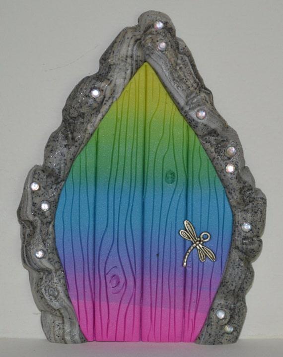 Rainbow fairy door fairy garden fairy decor tooth fairy for Rainbow fairy door