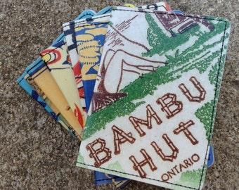 Slim Wallet- 50's Hawaiian Tiki Bar Matchbook Art Postcards- Choose 1