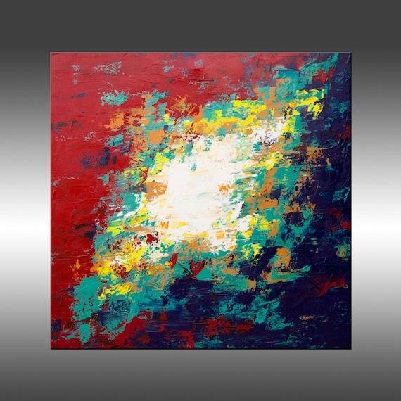 Búsqueda 11 - grande 30 x 30 cuadrado pulgadas Original arte moderno pintura, acrílico sobre lienzo, pintura abstracta contemporánea