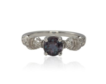Moon Ring, Sun, Moon, and Stars Ring - Lab Alexandrite and Diamond Engagement Ring in Gold - Celeste Collection - LS1893