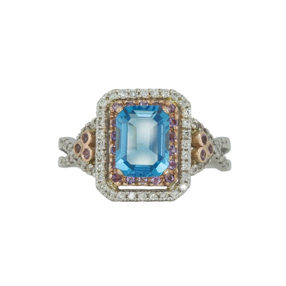 Emerald Cut Engagement Ring, Blue Topaz Ring, With Pink Sapphire and Diamond Double Halo, Two Tone Ring - LS643