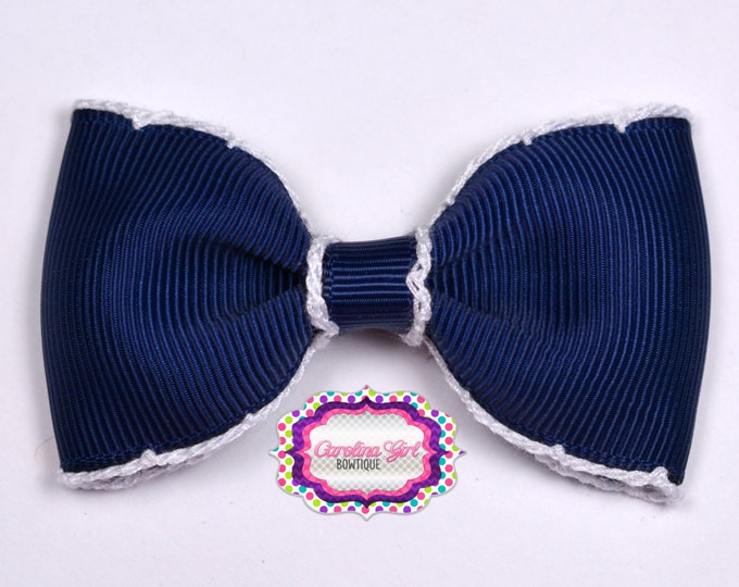 "Navy w/ White Stitching 3"" Hair Bow Tuxedo Bow Simple Bow Boutique Bow for Babies Toddlers Girls Hair Bows"