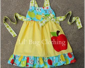 Custom Boutique Clothing Back To School Girls Apple Jumper Dress