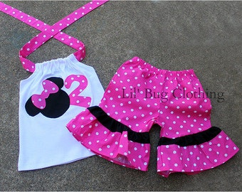 Custom Boutique Pink Minnie Mouse Personalized Short set 3m 6m 8m 12m 18m 24 2 3 4 5 6 7 8 9 10