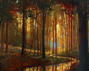 Creekside - Giclee Fine Art PRINT of Original Painting matted 16x20 by Jan Schmuckal