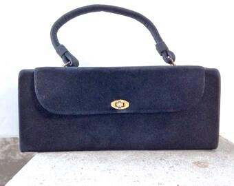 Box Purse Vintage 50s Black Leather Top Handle +